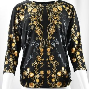 !! Black/Yellow/Gold Opulent Print w/ Studs Top !!